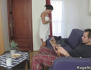 Charley shower start with Blowjob