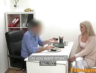 Buxom Blonde Model Rides Huge Cock