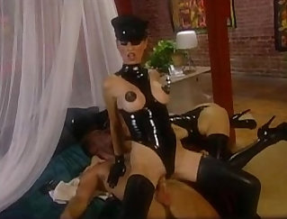 big sexy blonde cutie in latex and bra gets fucked