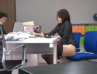 Very happy woman gets her pussy fucked hard with dildo in the office