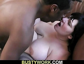 Busty black wench wraps her legs on a large cock for affection