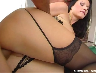 Busty hottie Lena Romani gets her tight asshole toyed in doggy