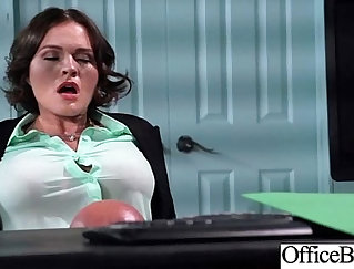 girl with big boobs is giving a handjob to her partner in an office