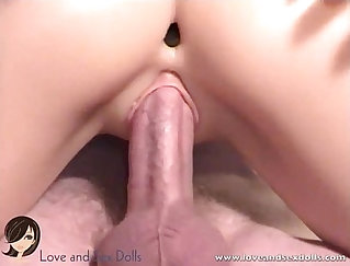 Beautiful sex doll receives her yoni rubbed in missionary position