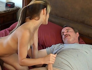 Classy raven haired whore got banged well by her dad hard