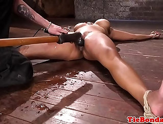 Bondage give-stand squirt Black Male squatting on his knees