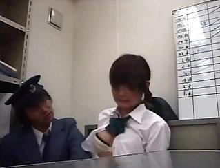 Bald guy fucks horny schoolgirl while she is at work