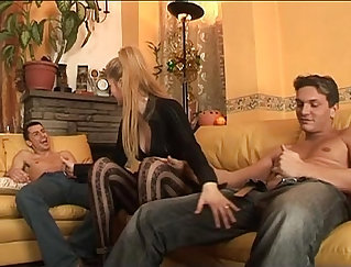 blond with stockings shows her sexy body ready for a good cock suck