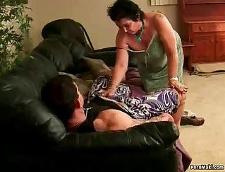 Chesty granny takes facial cumshot