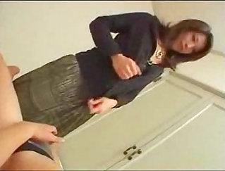 Cute Japanese Mom fucks herself