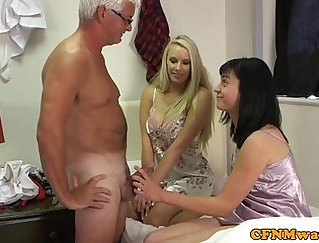 Babe in dresses gets multiple tits cummed on and charms teacher