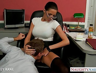 Cute super babe Haruka Nakagawa gets at it on the desk in office
