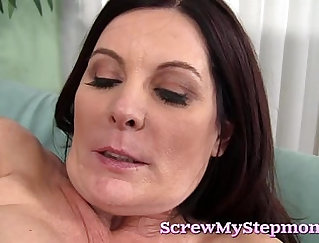 Busty stepmom gets a mouthful and a cock