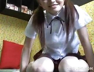Asian teen fucked on maturbate dildo