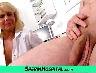 Crazy milf gives hand job in teasing act
