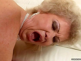 Blonde Granny With Massive Tits Masturbates