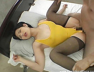 Beautiful mistress undresses in pantyhose and bangs temptation